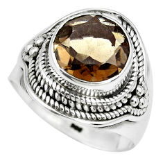 925 sterling silver 5.42cts brown smoky topaz solitaire ring size 8.5 p70232