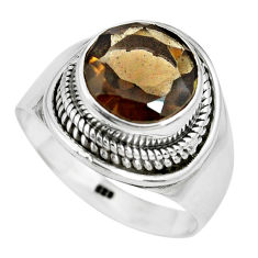 925 sterling silver 5.53cts brown smoky topaz solitaire ring size 8.5 p70239