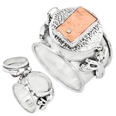 925 sterling silver 5.51cts copper nugget poison box ring jewelry size 8 p75548