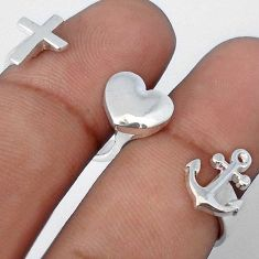 9.08gms 925 STERLING SILVER CROSS HEART ANCHOR ADJUSTABLE RING JEWELRY H9507