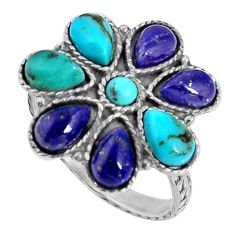 925 sterling silver 7.50cts fine blue turquoise lapis lazuli ring size 8 d32615