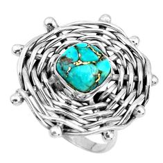 925 sterling silver 3.23cts fine blue turquoise solitaire ring size 7.5 p48386