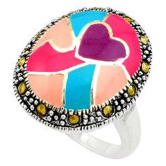 925 sterling silver 5.89gms fine marcasite enamel ring jewelry size 6.5 c4088