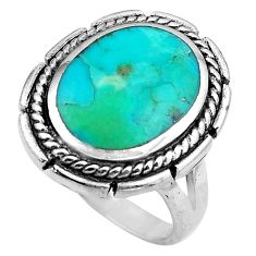 925 sterling silver 6.31cts green arizona mohave turquoise ring size 7.5 c4815