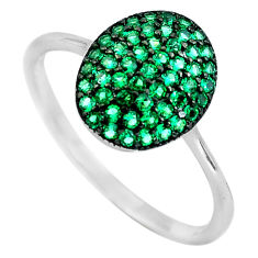 925 sterling silver 1.98cts green emerald (lab) round ring jewelry size 9 c3160