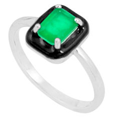 925 sterling silver 1.51cts green emerald (lab) topaz enamel ring size 7 c2637