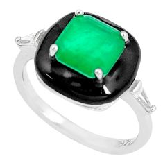 925 sterling silver 4.02cts green emerald (lab) topaz enamel ring size 6 c2648