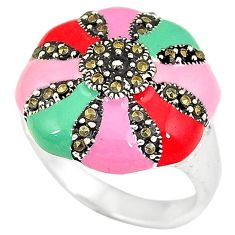 925 sterling silver multi color enamel marcasite ring jewelry size 8 h52356