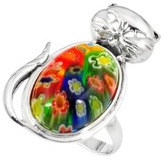 925 sterling silver multi color italian murano glass cat ring size 9 h54997