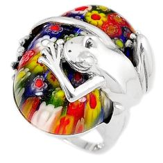 925 sterling silver multi color italian murano glass frog ring size 7.5 h54987
