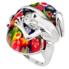 925 sterling silver multi color italian murano glass frog ring size 7 h54989