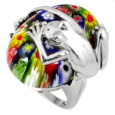 925 sterling silver multi color italian murano glass frog ring size 8 h54990