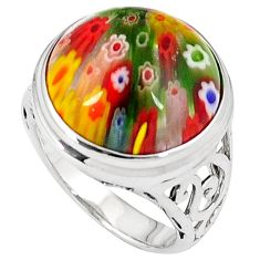 925 sterling silver multi color italian murano glass ring jewelry size 7 h54982