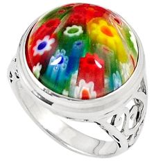 925 sterling silver multi color italian murano glass round ring size 8 h54984