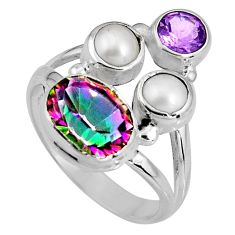 925 sterling silver 6.36cts multicolor rainbow topaz amethyst ring size 7 p90668