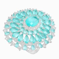 925 sterling silver 17.10cts natural aqua chalcedony topaz ring size 7 c2005