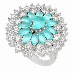 925 sterling silver 10.44cts natural aqua chalcedony topaz ring size 7 c2034