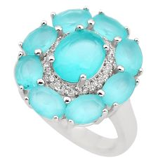 925 sterling silver 13.07cts natural aqua chalcedony topaz ring size 7 c3039