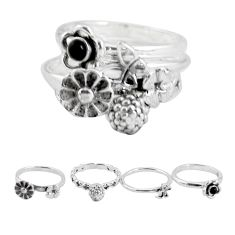 925 sterling silver natural black onyx flower 3 rings jewelry size 5.5 p48631
