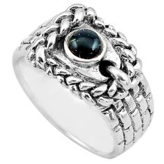 925 sterling silver 0.41cts natural black onyx round ring jewelry size 6 c4167