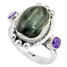 925 sterling silver 8.44cts natural black toad eye amethyst ring size 9 p79006