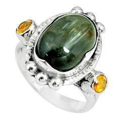 925 sterling silver 7.58cts natural black toad eye citrine ring size 7 p69893