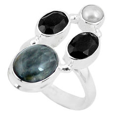 925 sterling silver 8.14cts natural black toad eye onyx ring size 6.5 p52718