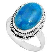 925 sterling silver 6.63cts natural blue apatite solitaire ring size 7 p67604