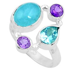 925 sterling silver 6.10cts natural blue aquamarine amethyst ring size 7 p52457