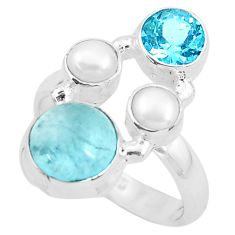 925 sterling silver 7.12cts natural blue aquamarine pearl ring size 6.5 p52453
