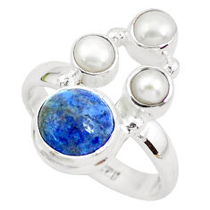 925 sterling silver 5.79cts natural blue dumortierite pearl ring size 7.5 p52616