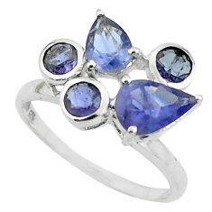925 sterling silver 4.89cts natural blue iolite pear ring jewelry size 6 p62179