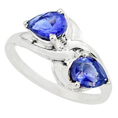 925 sterling silver 3.26cts natural blue iolite pear ring jewelry size 7 p73036