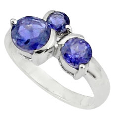 925 sterling silver 3.51cts natural blue iolite ring jewelry size 5.5 p81944