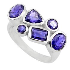 925 sterling silver 6.31cts natural blue iolite ring jewelry size 7.5 p82818