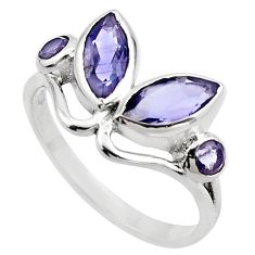 925 sterling silver 3.93cts natural blue iolite ring jewelry size 7 p83019
