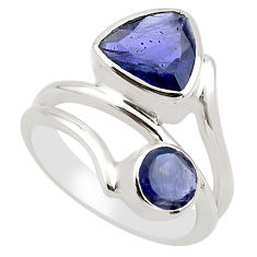 925 sterling silver 6.08cts natural blue iolite ring jewelry size 7.5 p83199