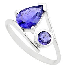 925 sterling silver 2.69cts natural blue iolite ring jewelry size 5.5 p83559