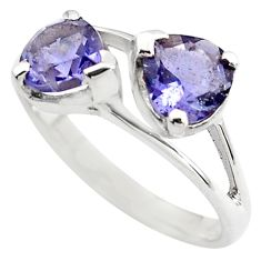 925 sterling silver 2.96cts natural blue iolite ring jewelry size 7.5 p83637