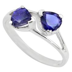 925 sterling silver 2.90cts natural blue iolite ring jewelry size 7.5 p83640