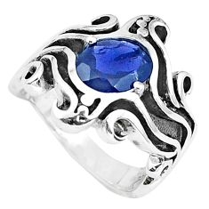 925 sterling silver 2.99cts natural blue iolite solitaire ring size 6.5 p37248