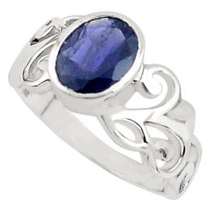 925 sterling silver 3.01cts natural blue iolite solitaire ring size 6 p81760