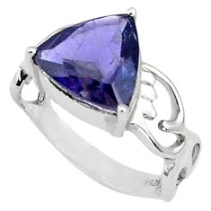925 sterling silver 4.83cts natural blue iolite solitaire ring size 5.5 p81957