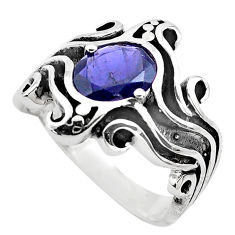 925 sterling silver 3.21cts natural blue iolite solitaire ring size 6.5 p82738