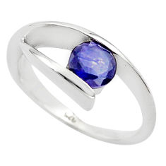 925 sterling silver 1.48cts natural blue iolite solitaire ring size 6.5 p82940