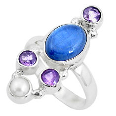 925 sterling silver 7.83cts natural blue kyanite amethyst ring size 8 p52470