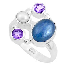 925 sterling silver 7.07cts natural blue kyanite amethyst ring size 8.5 p52680