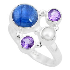 925 sterling silver 5.79cts natural blue kyanite amethyst ring size 7 p52711
