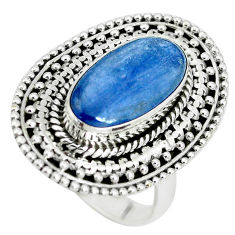 925 sterling silver 7.37cts natural blue kyanite solitaire ring size 8 p32786
