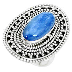 925 sterling silver 6.92cts natural blue kyanite solitaire ring size 7.5 p32791